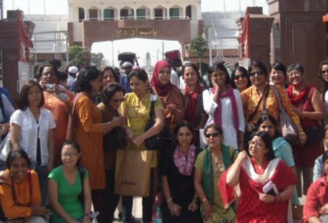 SAWM India members at Wagah border, on way to SAWM Conference in Lahore, 2009