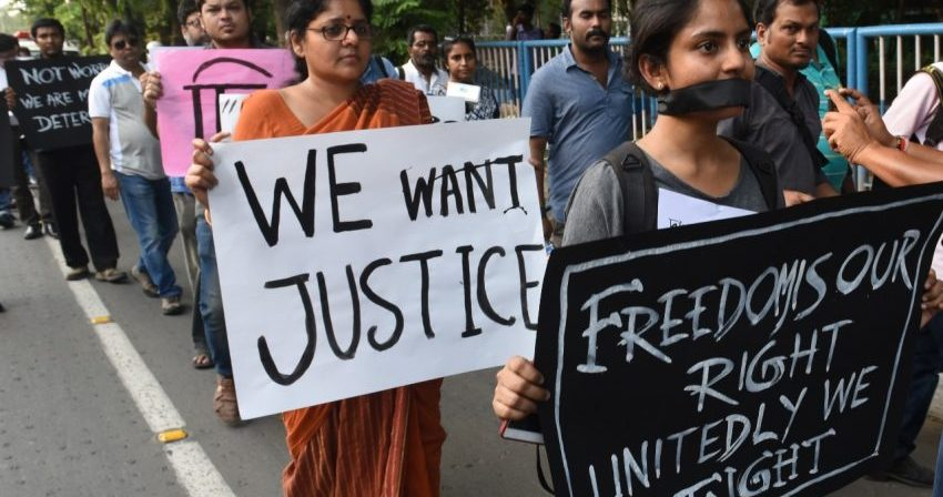 A protest march in Kolkata onApril 12, 2018 to oppose atrocities againstmedia.