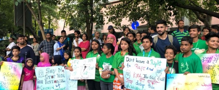 Protest in Delhi against brutal rapes in Kathua and Unnao on April 16.