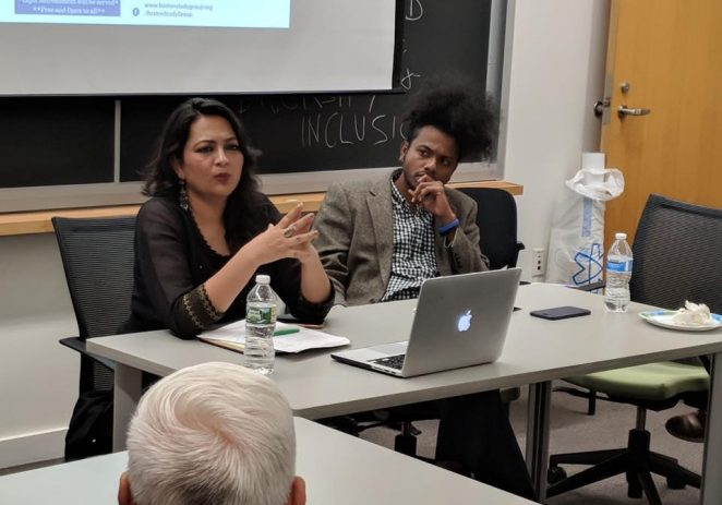 Senior journalist Arfa Khanum delivering a lecture at Harvard University on September 1, 2018