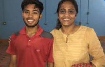 OTV Journalist Kasturi Roy with Roshan Singh, who comes from a very poor family but is slotted to play in the national badminton team