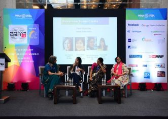 """SAWM partnered with WAN-IFRA to hold a panel discussion on """"Women in Media: Does Gender Parity Exist?"""" at the Newsroom Summit on Feb 19. SAWM India President Jyoti Malhotra (National & Strategic Affairs editor of The Print website) moderated the discussion. The panelists were Yagna Balaji (DTNext) Swati Bhattacharjee (ABP, SAWM India General Secretary) and Sheela Bhatt (NewsX)."""