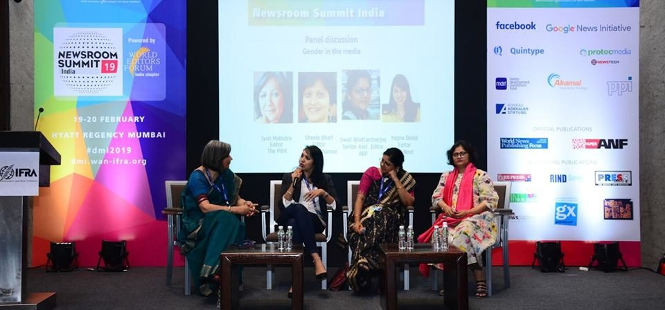"SAWM partnered with WAN-IFRA to hold a panel discussion on ""Women in Media: Does Gender Parity Exist?"" at the Newsroom Summit on Feb 19. SAWM India President Jyoti Malhotra (National & Strategic Affairs editor of The Print website) moderated the discussion. The panelists were Yagna Balaji (DTNext) Swati Bhattacharjee (ABP, SAWM India General Secretary) and Sheela Bhatt (NewsX)."