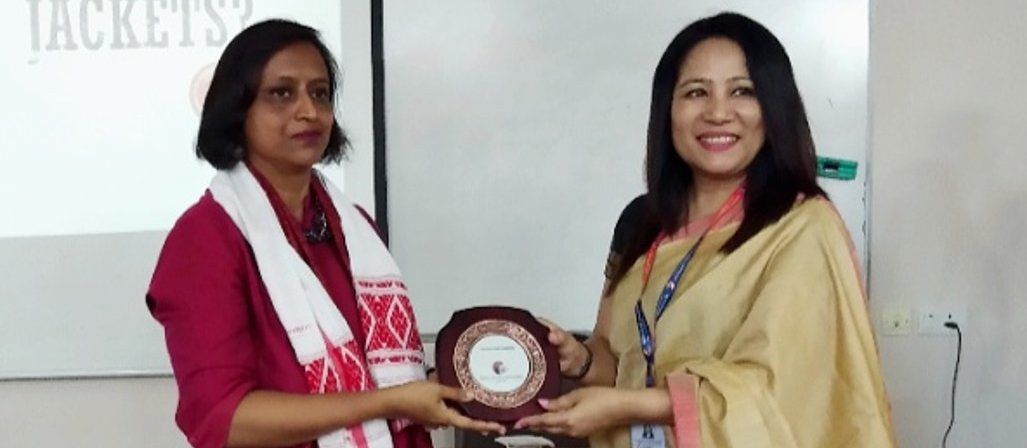 "Teresa Rehman, senior journalist and author of ""Bulletproof"" (Penguin India) interacted with media students of Royal Global University, Guwahati recently."