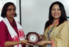 """Teresa Rehman, senior journalist and author of """"Bulletproof"""" (Penguin India) interacted with media students of Royal Global University, Guwahati recently."""