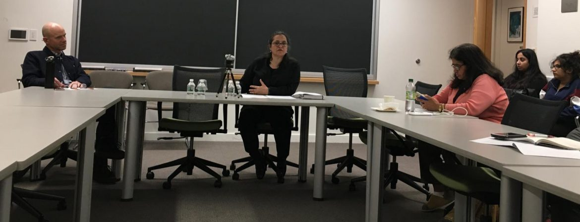 SAWM member Nasim Zehra delivering her talk at Harvard recently on her book Kargil to the Coup