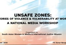 "Media workshop on ""Unsafe Zones: Stories of Violence and Vulnerabilities at Work."""
